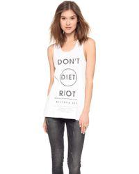 Zoe Karssen Dont Diet Riot Sleeveless Tank - White