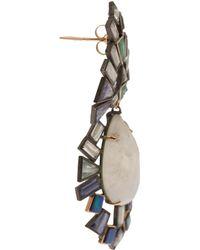 Nak Armstrong Moonstone, Tanzanite, Emerald, Aquamarine And Iolite Earrings - White