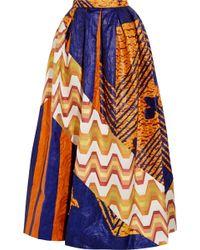 Duro Olowu Printed Cotton-poplin And Silk-jacquard Maxi Skirt - Orange