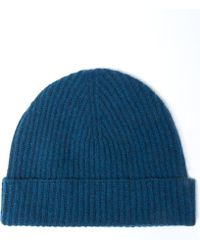 Johnstons - Teal Ribbed Cashmere Hat - Lyst