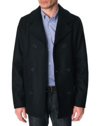 Menlook Label Lee Navy Pea Coat - Lyst