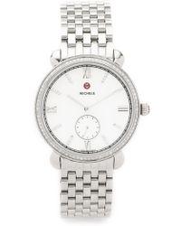 Michele Slim Gracile Diamond Watch Dial - Silver - Metallic