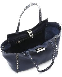 Valentino Marine Blue Leather Rockstud Convertible Trapeze Tote - Lyst