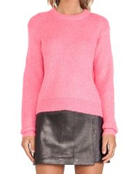 T By Alexander Wang Mohair Half Cardigan Pullover - Lyst