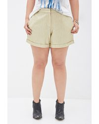 Forever 21 Cuffed Metallic Shorts - Lyst
