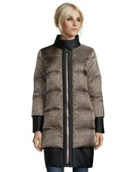 Moncler Croc Printed Quilted Down Dual Layered Coat - Lyst