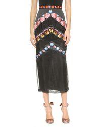 Temperley London Valencia Pencil Skirt - Black Mix - Lyst