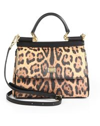 Dolce & Gabbana Mini Miss Sicily Leopardprint Satchel - Lyst