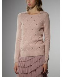 Patrizia Pepe Angora and Cashmere Sweater with Rhinestones - Lyst