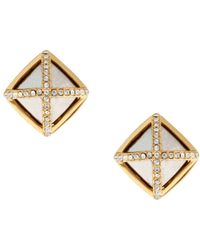 Rachel Zoe 14k Gold Facets Square Button Earrings - Lyst