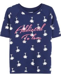 Zoe Karssen Addicted To Love Embroidered Printed Cotton-Blend Jersey Top - Lyst