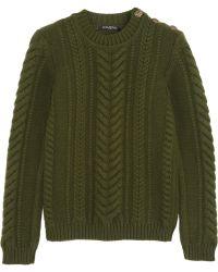 Balmain Cableknit Wool Sweater - Lyst