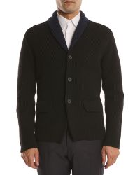 Jil Sander Knitted Cardigan Jacket with Contrasting Collar - Lyst