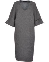 Jil Sander Gray Knee-Length Dress - Lyst