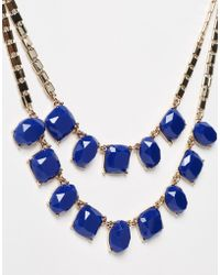 Lipsy - Two Row Square Gem Necklace - Lyst