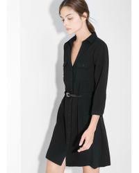 Mango Belt Shirt Dress - Lyst