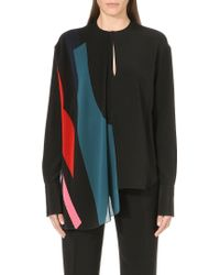 Issa Block Colour Silkblend Shirt Multi - Lyst