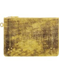 Jérôme Dreyfuss - Calf Hair Medium Popoche Zip Pouch-Yellow - Lyst