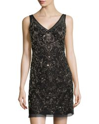 Adrianna Papell Floralbeaded Mesh Cocktail Dress - Lyst