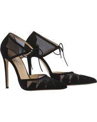 Bionda Castana Lana Black Suede Ankle Tie Court Shoes - Last Pair
