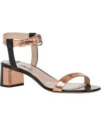 Miu Miu Two-tone Ankle-strap Sandals - Lyst