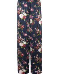 Rosamosario Deep Water Floral-Print Silk-Satin Pyjama Trousers - Blue