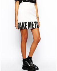 Asos A-Line Skirt In Take Me To La Print white - Lyst