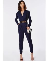 Missguided Premium Tailored Crepe Wrap Jumpsuit Navy - Lyst