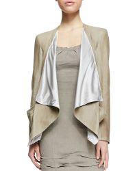 Donna Karan New York Draped Lambskin Leather Jacket With Jersey Panels - Lyst