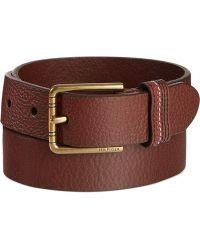 Tommy Hilfiger Stitched-Loop Brown Belt - Lyst