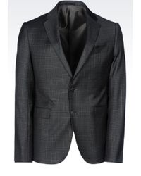 Armani Collezioni Slim Fit Jacket In Prince Of Wales Virgin Wool - Lyst