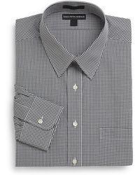 Saks Fifth Avenue Regular-Fit Mini-Check Cotton Dress Shirt - Lyst