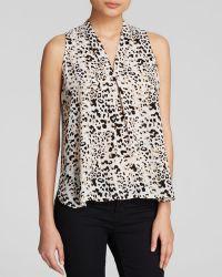 Vince Camuto Pleat Front Leopard Print Blouse - Lyst