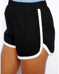 Glamorous Running Shorts with Contrast Dolphin Hem - Black