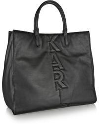Karl Lagerfeld Appliquéd Leather Tote - Lyst