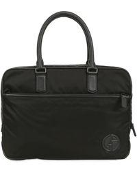 Giorgio Armani | Leather Piping Nylon Briefcase | Lyst