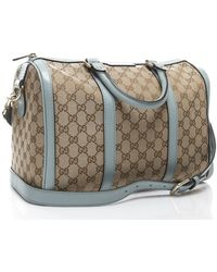 Gucci Preowned Beige Monogram Canvas Blue Boston Bag - Lyst