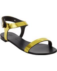 Giuseppe Zanotti Plated Anklestrap Flat Sandals - Lyst