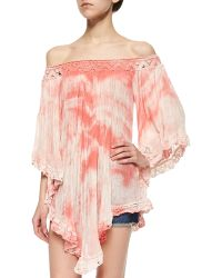 Golden by JPB - Pleated/crochet Tie-dye Top - Lyst