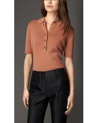 Burberry Merino Wool Silk Polo Shirt - Lyst