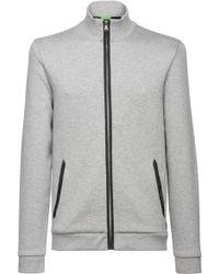BOSS Green Mottled, Regular-fit Sweatshirt Jacket: 'c-cannobio 83' - Grey
