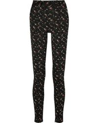 Victoria Beckham Floral Stretch-jacquard Skinny Pants - Lyst