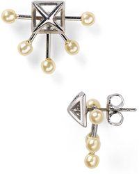 Rebecca Minkoff Pyramid Fan Stud Earrings - Lyst
