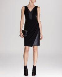 Karen Millen Dress  Jersey  Faux Leather - Lyst