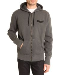 Diesel Sdp Grey Sweater with Zipped Hood - Lyst