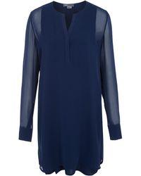 Vince Blue Double Layer Silk Shirt Dress - Lyst