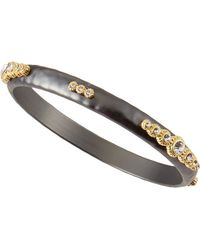 Panacea Hematite Golden-Accent Crystal Bangle - Lyst