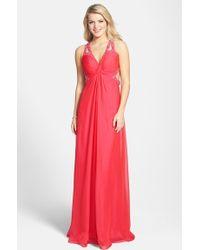 La Femme Embellished Strappy Chiffon Gown - Lyst