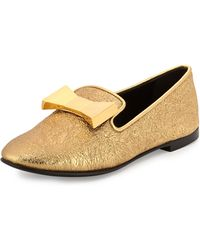 Giuseppe Zanotti Metallic Bow Slip-On Loafer - Lyst