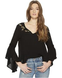 Jack BB Dakota - Beech Bell Sleeve Top With Embroidery Detail - Lyst